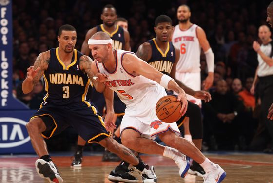 Jason Kidd #5 of the New York Knicks dribbles the ball against the Indiana Pacers at Madison Square Garden on November 18, 2012 in New York City.