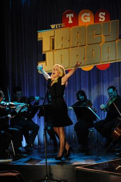 "30 ROCK -- ""Part 1: Hogcock! Part 2: Last Lunch"" Episode 712/713 -- Pictured: Jane Krakowski as Jenna Maroney ."