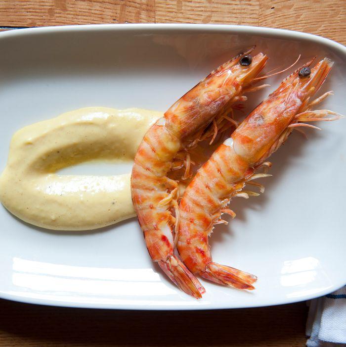 Fresh head-on shrimp with fire-roasted lemon aïoli.