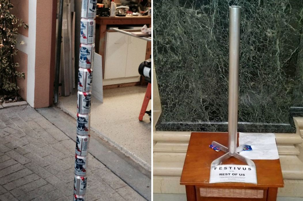 The newfangled Festivus pole (left) will be installed in the Tallahassee capitol building this week, and the traditional-style pole (right) is already on display in Madison's statehouse.