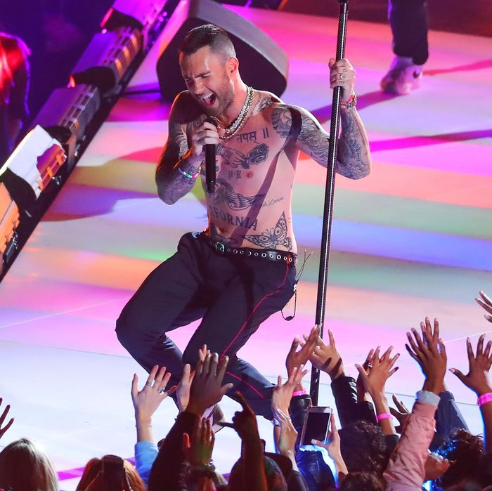 Adam Levine performing at the 2019 Super Bowl halftime show.