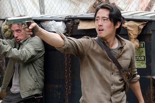 Michael Traynor as Nicholas and Steven Yeun as Glenn Rhee - The Walking Dead _ Season 6, Episode 3 - Photo Credit: Gene Page/AMC