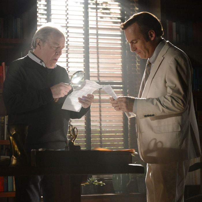 Michael McKean as Chuck Thurber and Bob Odenkirk as Jimmy McGill - Better Call Saul _ Season 1, Episode 8 - Photo Credit:Ursula Coyote/AMC