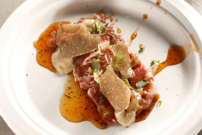 Zuma: Freshly seared Wagyu tataki with truffled ponzu.