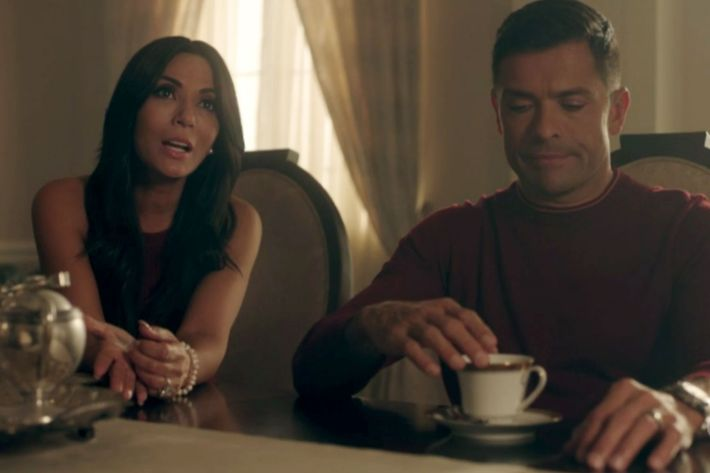 It is warm enough for Hermione Lodge to go sleeveless, but cold enough that Hiram  Lodge has opted for long sleeves. (70 degrees? Maybe?)