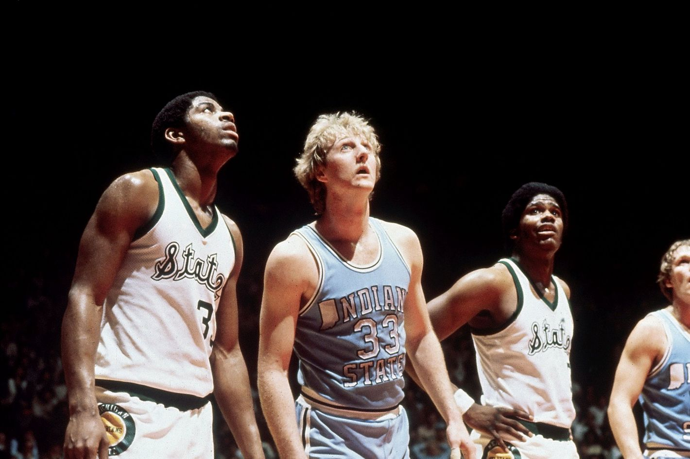 College Basketball: NCAA Final Four: Michigan State Magic Johnson (33) and Indiana State Larry Bird (33) lining up for foul shot during game. Salt Lake City, UT 3/26/1979 CREDIT: James Drake (Photo by James Drake /Sports Illustrated/Getty Images) (Set Number: X23267 )