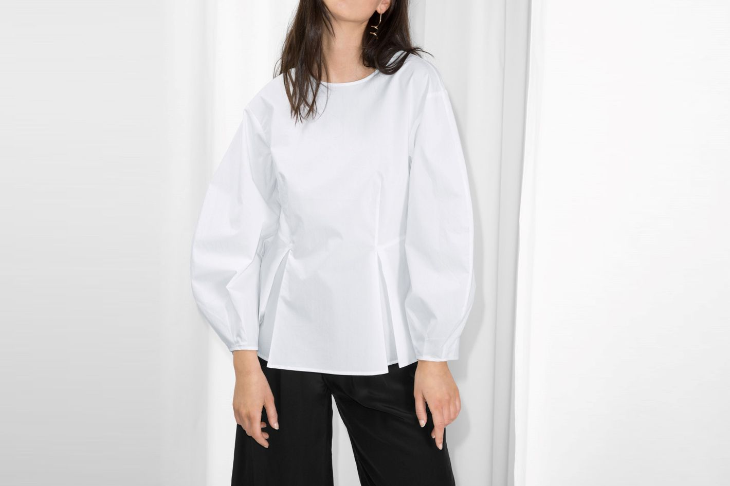 & Other Stories Puff Sleeve Peplum Blouse