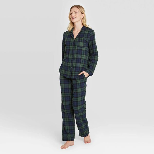 Stars Above Plaid Perfectly Cozy Flannel Long Sleeve Notch Collar Top and Pants Pajama Set