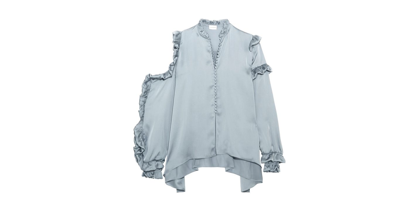 Magda Butrym Cutout Ruffled Silk-Satin Blouse