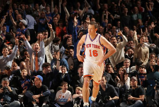 NEW YORK, NY - FEBRUARY 29:  Steve Novak #16 of the New York Knicks racts after hitting a three point shto during the fourth quarter against the Cleveland Cavaliers on February 29, 2012 at Madison Square Garden in New York City.  NOTE TO USER: User expressly acknowledges and agrees that, by downloading and or using this photograph, User is consenting to the terms and conditions of the Getty Images License Agreement. Mandatory Copyright Notice: Copyright 2012 NBAE  (Photo by Nathaniel S. Butler/NBAE via Getty Images)