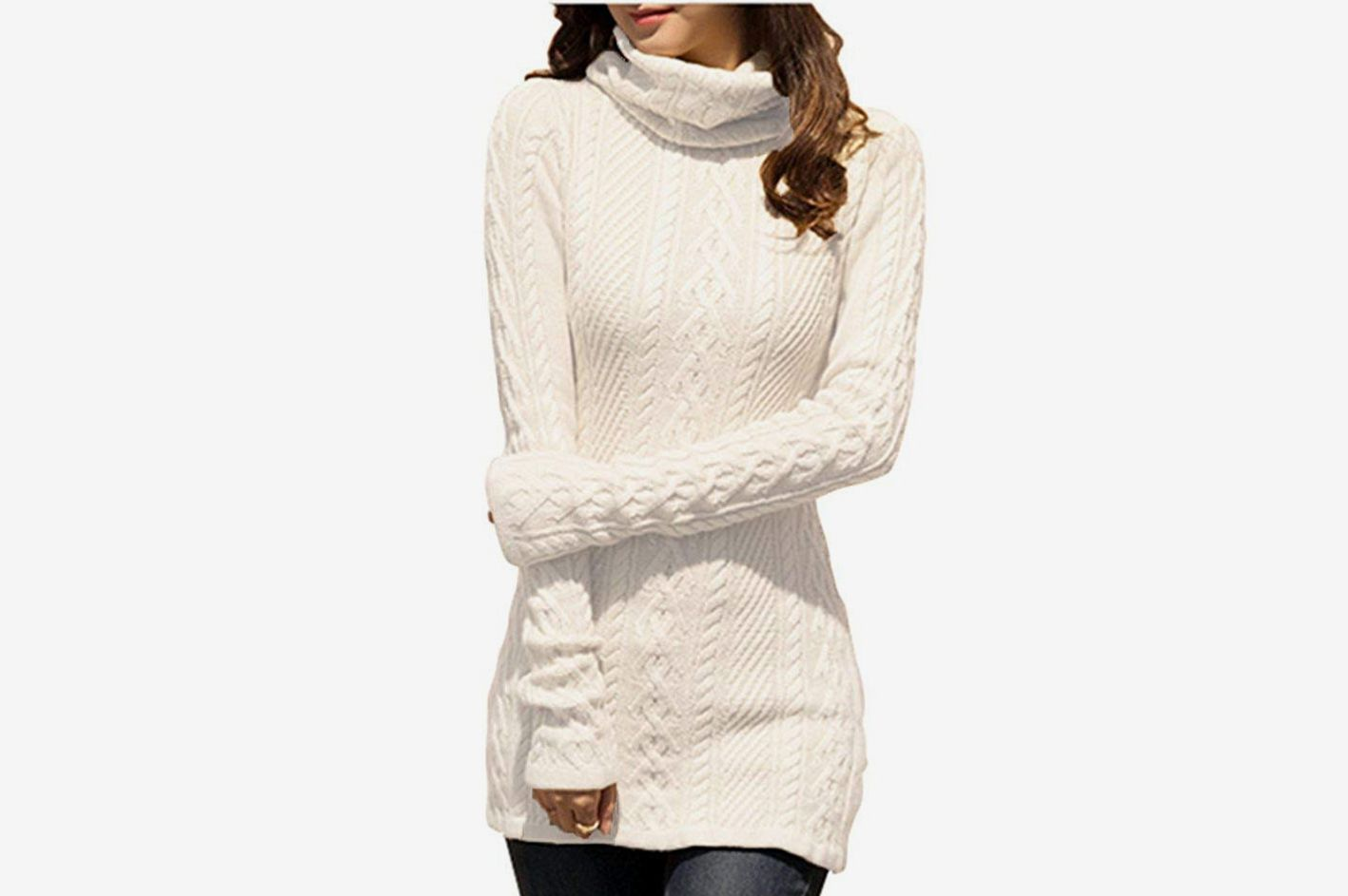 da68a6ab1079e v28 Women Polo Neck Knit Stretchable Long Sleeve Slim Sweater
