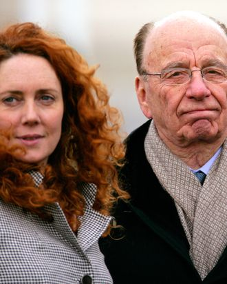 CHELTENHAM, UNITED KINGDOM - MARCH 18: (EMBARGOED FOR PUBLICATION IN UK NEWSPAPERS UNTIL 48 HOURS AFTER CREATE DATE AND TIME) Rebekah Brooks (formerly Wade) and Rupert Murdoch attend day 3 of the Cheltenham Horse Racing Festival on March 18, 2010 in Cheltenham, England. (Photo by Indigo/Getty Images)