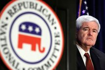 Former Speaker of the House Newt Gingrich prepares to address the Republican National Committee's State Chairman's meeting on May 11, 2010 in National Harbor, Maryland.