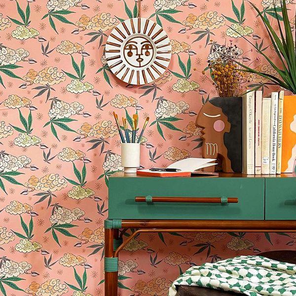 Peel + Stick Ganjalow Wallpaper in Pink by Justina Blakeney