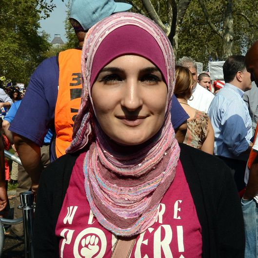 Linda Sarsour, director of the Arab American Association of New York makes a short statement during the rally where Immigrants in USA support the immigration overhaul on September 6 in Brooklyn, New York, US. Demonstrators rallied across the U.S to pressure Congress as the immigration overhaul to be passed. US is hosting around 11 million immigrants with no permanent legal status.