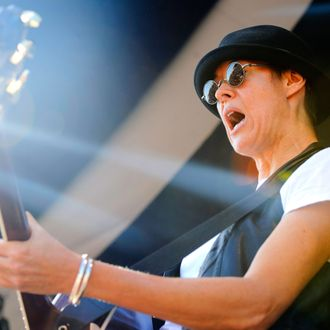 Michelle Shocked performing live at the 2011 New Orleans Jazz & Heritage Festival in New Orleans, Louisiana on May 5, 2011.