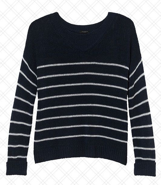 "Tied around shoulders, it's the ultimate ""I'm not really wearing this sweater"" sweater.   <i>$78 at <a href=""http://www.anntaylor.com/ann/product/AT-Apparel/AT-MHL-RIVERA-CHIC/Nautical-Stripe-Sweater/273347?colorExplode=false&skuId=11533269&catid=cata000011&productPageType=fullPriceProducts&defaultColor=9000"">Ann Taylor</a></i>"
