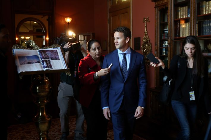 Congressman Aaron Schock speaks to the media as he arrives at an immigration reform panel hosted by the Illinois Business Immigration Coalition Monday, March 9, 2015, at St. Ignatius College Prep in Chicago. Schock resigned Tuesday amid controversy over his spending habits. (Nancy Stone/Chicago Tribune/TNS via Getty Images)