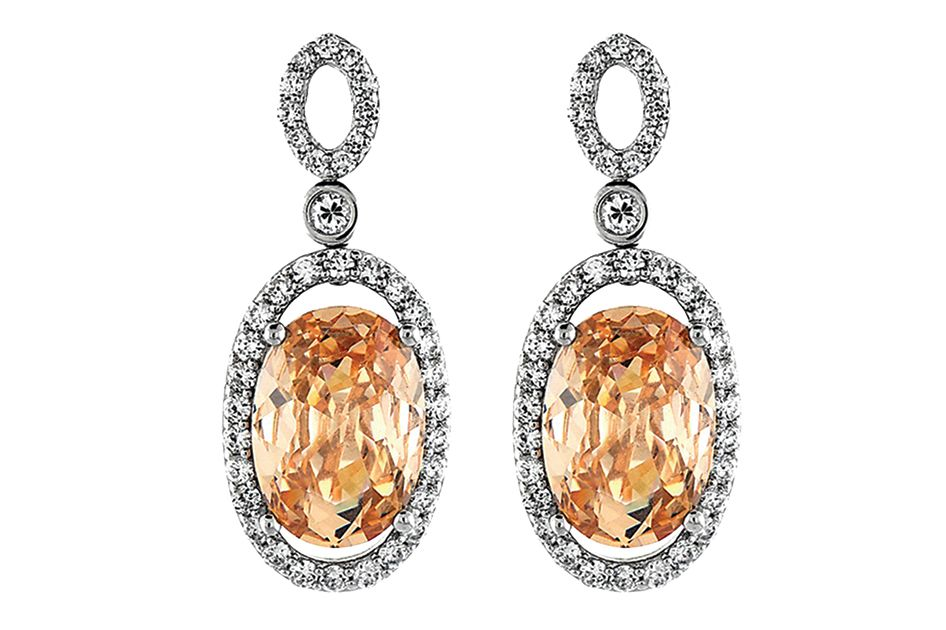 Sterling silver and platinum with peach Austrian crystals and micro-pavé crystals