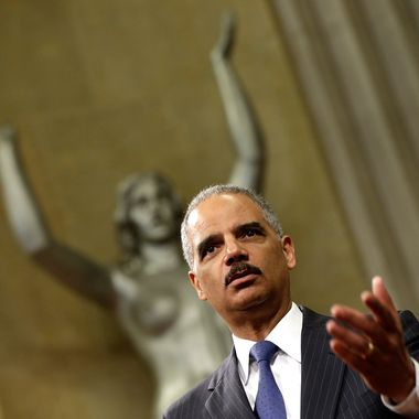 WASHINGTON, DC - MAY 28:  U.S. Attorney General Eric Holder speaks during a naturalization ceremony at the U.S. Department of Justice May 27, 2013 in Washington, DC. During the event Citizenship and Immigration Services Director Alejandro Mayorkas administered the Oath of Citizenship to approximately 70 new U.S. citizens. (Photo by Win McNamee/Getty Images)