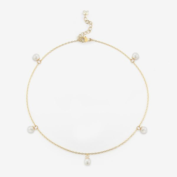 Mateo 14kt Gold 5 Point Pearl Anklet