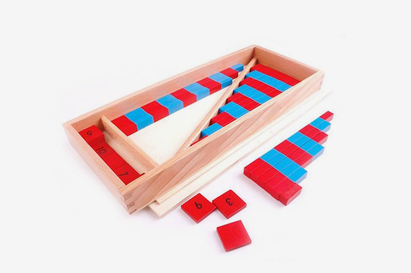 Montessori Mathematics Small Numerical Rods with Number Tiles