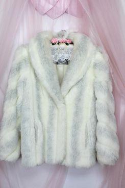 Vintage Jordache Faux Fur White/Gray