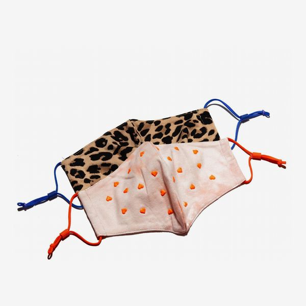 Lele Sadoughi Set Of 2 Leopard Kid's Face Masks