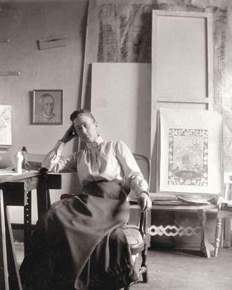 Hilma af Klint in her studio at Hamngatan, Stockholm, circa 1895.
