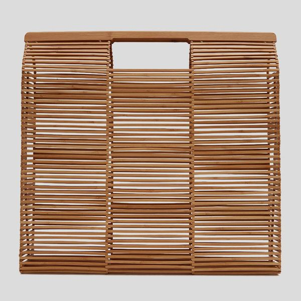 cult gaia beach bag large in natural - strategist best large bamboo tote in natural
