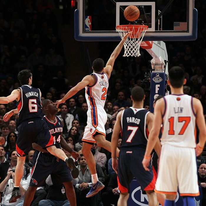 Landry Fields #2 of the New York Knicks in action against the Atlanta Hawks on February 22, 2012 at Madison Square Garden in New York City. The Knicks defeated the Hawks 99-82.
