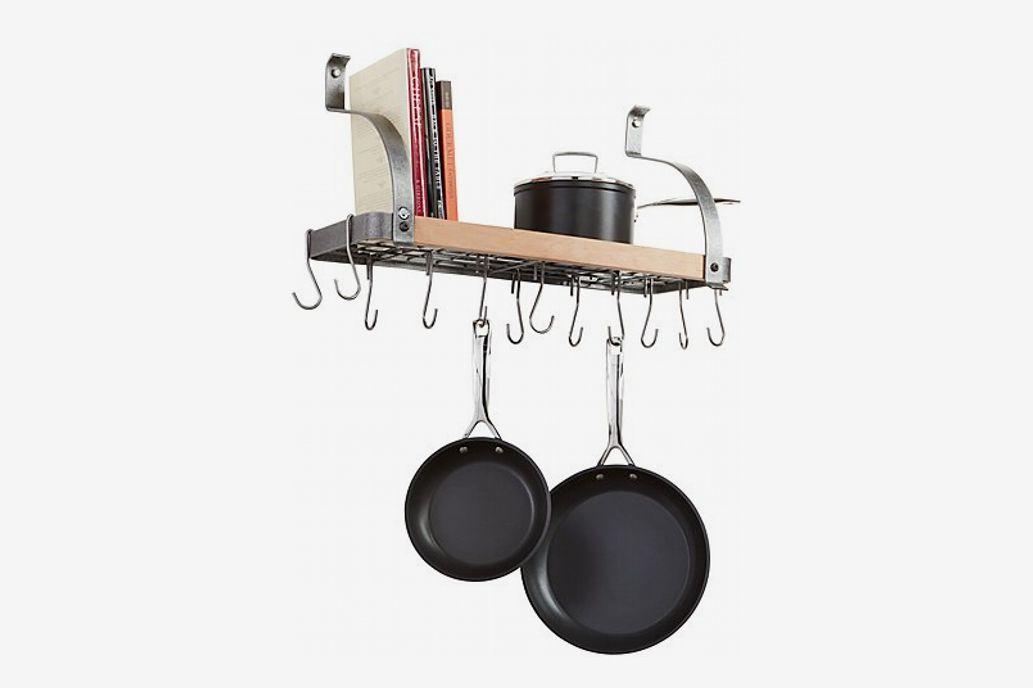 Enclume Steel and Wood Bookshelf Wall Pot Rack