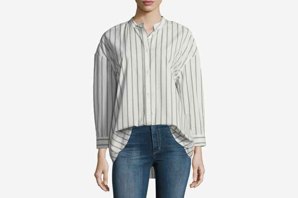 Joie Poni Button-Front Striped Poplin Shirt