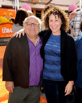 UNIVERSAL CITY, CA - FEBRUARY 19: Actors Danny DeVito (L) and Rhea Perlman arrive at the premiere of Universal Pictures and Illumination Entertainment's 3D-CG