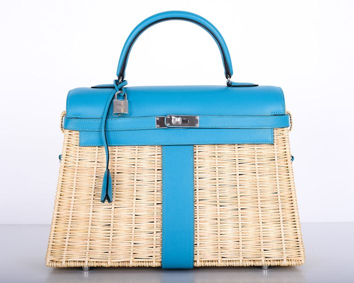 A Rare Blue Picnic Basket Style Kelly Bag Photo Janefinds Llc
