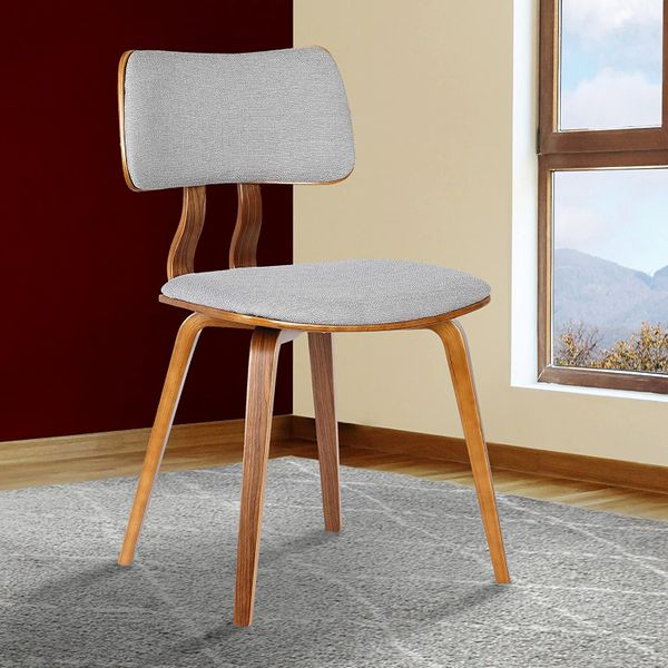 Armen Living Jaguar Dining Chair in Grey Fabric and Walnut Wood Finish