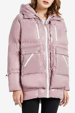 Orolay Women's Fleece Down Coat Thickened Winter Puffer Down Jacket