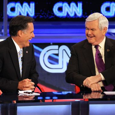 Republican presidential candidates former Massachusetts Gov. Mitt Romney (L) and former Speaker of the House Newt Gingrich participate in a debate sponsored by CNN and the Republican Party of Arizona at the Mesa Arts Center February 22, 2012 in Mesa, Arizona. The debate is the last one scheduled before voters head to the polls in Michigan and Arizona's primaries on February 28 and Super Tuesday on March 6.