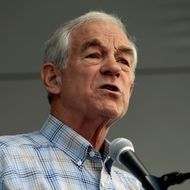 AMES, IA - AUGUST 13:  Republican presidential candidate Rep. Ron Paul (R-TX) addresses his supporters outside the Hilton Coliseum, where Iowans will vote in the Iowa Straw Poll at Iowa State University August 13, 2011 in Ames, Iowa. Nine GOP presidential candidates are competing for votes in the straw poll, an important step for gaining momentum in a crowded field of hopefuls.  (Photo by Chip Somodevilla/Getty Images)