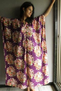 Laughing Cherries Purple Floral V-Neck Cinched Waist Caftan