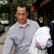 FILE - In this June 11, 2011 file photo, Rep. Anthony Weiner, D-N.Y., carries his laundry to a laundromat near his home in the Queens borough of New York, Saturday, June 11, 2011. Weiner admitted last week that he had Tweeted sexually charged messages and photos to at least six women and lied about it. (AP Photo/David Karp, File)