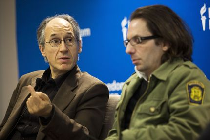 Charlie Hebdo's editor-in-chief, Gerard Biard(L) speaks as film critic, Jean-Baptiste Thoret, looks  on at the Freedom House in Washington, DC, on May 1, 2015. AFP PHOTO/ ANDREW CABALLERO-REYNOLDS        (Photo credit should read Andrew Caballero-Reynolds/AFP/Getty Images)