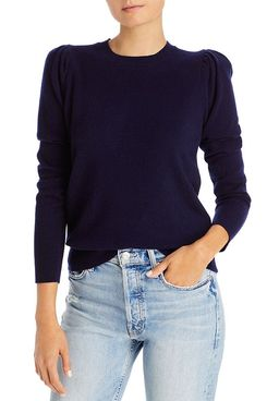 Aqua Cashmere Puff-Sleeve Sweater