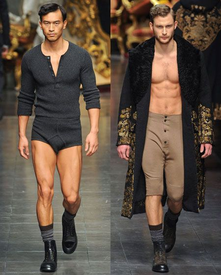 This is great. Dolce puts chicks on the runways in panties all the time so the men ought to have to walk in varying degrees of nakedness, too. When the show ended, these guys were dying to talk about their juice fasts, but no reporters were around to ask them about it.