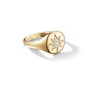 Cable Collectibles Compass Mini Pinky Ring with Diamonds