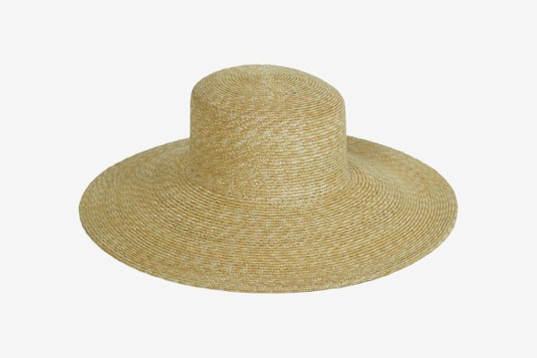 Clyde Wide Brim Flat Top Hat in Natural Straw