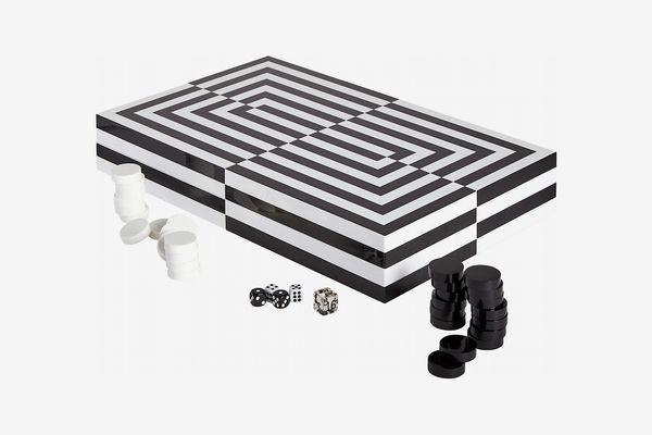 Jonathan Adler Optical Art Lacquered Backgammon Set