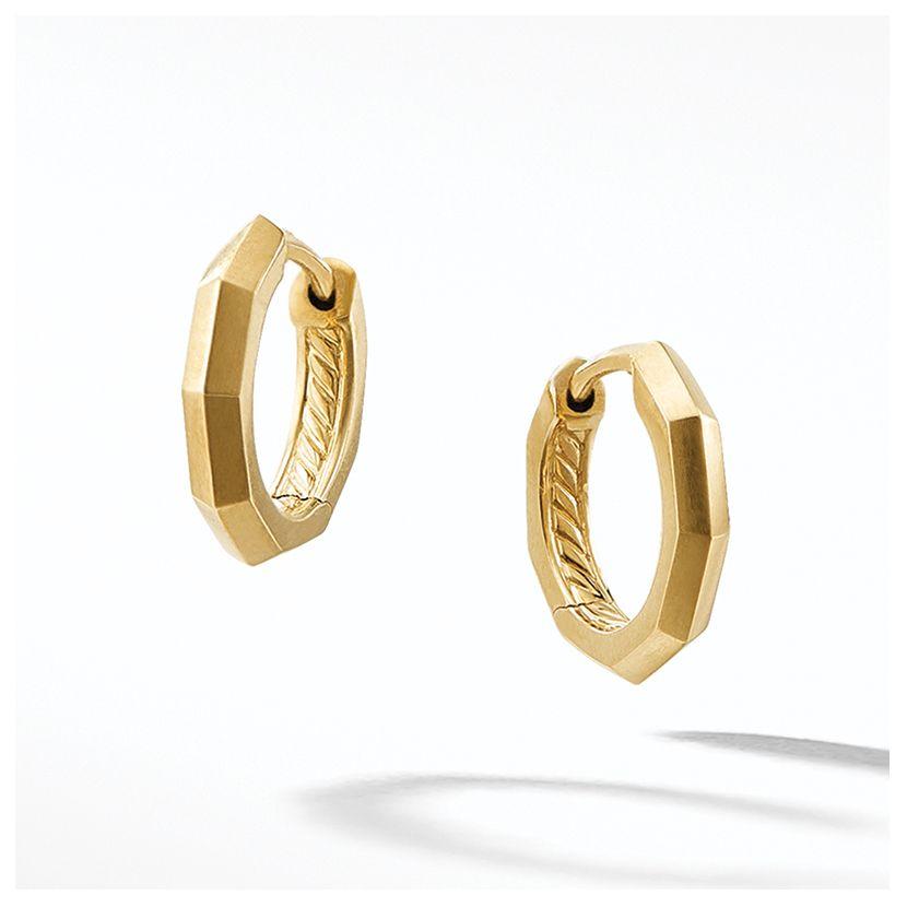 Stax Faceted Huggie Hoop Earrings in 18K Gold