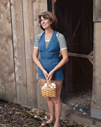 Martha Stewart outside her chicken coop, 1976.