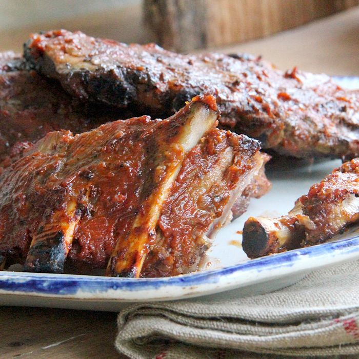 Ribs, sauced awesomely.